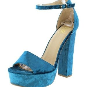 Blue Velvet Heels Chunky Wide Heel Open Toe Shoes
