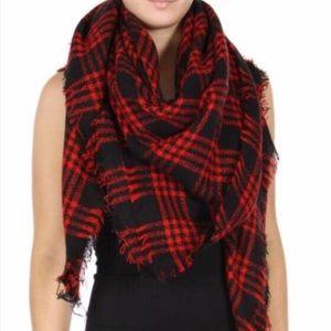 Accessories - •Black & Red Buffalo Tartan Plaid Blanket Scarf•