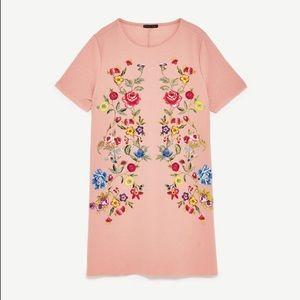 Zara pink printed rubberised dress