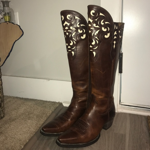 bf3b4857536 Ariat Shoes - Ariat Knee High Cowboy boot with white inlay 10M
