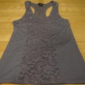 NWOT / MODA INTL lilac lace tank w/ cut out back