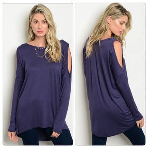 Tops - Navy cut out top