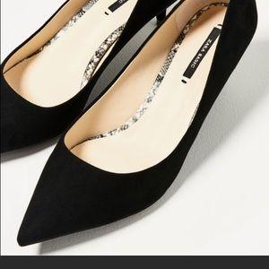 Zara black kitten heel shoes