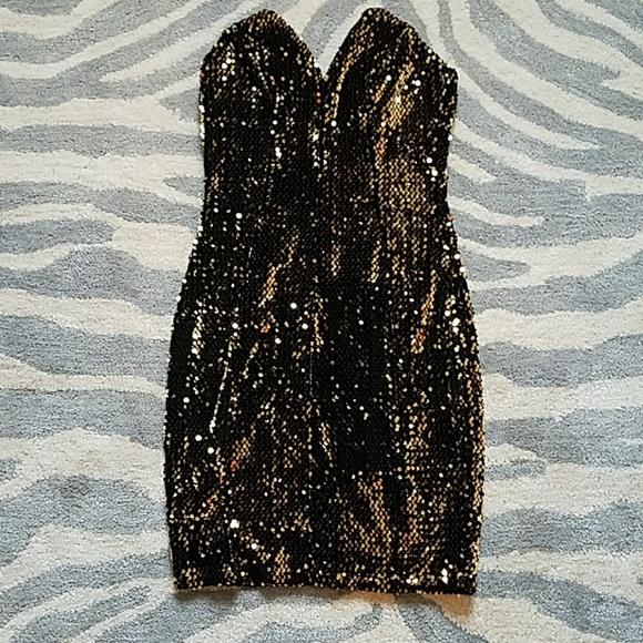 2b192b6a40 Nasty Gal Mystic Black Gold Sequin Dress S/M. M_59ff1d4a78b31c0fdb0ccbb9