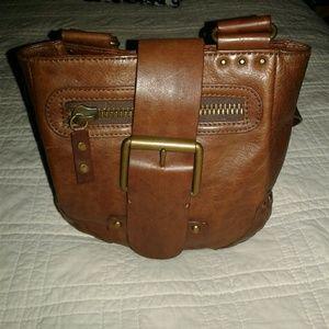 Linea Pelle Brown Leather Crossbody Purse