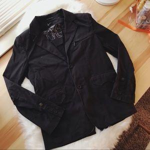 men's hause of howe black button blazer jacket