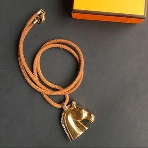 Authentic HERMES vintage Horse Motif Necklace