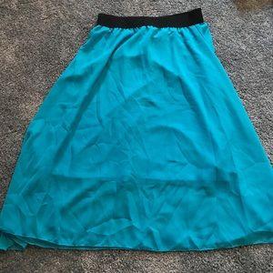 Lularoe Lola skirt turquoise blue - EUC
