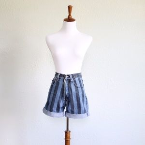 Vintage 1980s High Waisted Striped Jean Shorts
