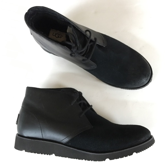 4138b24986f NEW UGG black ankle chukka boots warm winter 39.5 NWT