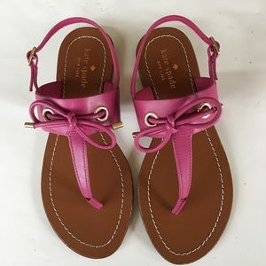 NEW KATE SPADE pink leather bow thong sandals 7