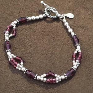 Jewelry - SS Garnet Gemstone Toggle Bracelet