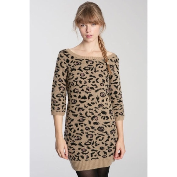 80d5576a2d Urban Outfitters Leopard Print Sweater Dress