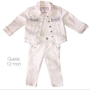 Guess White Denim Bedazzled Outfit 12 Months