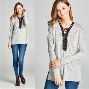 ⭐️Last One!!!⭐️  V-Neck Lace Up Long Sleeve Top