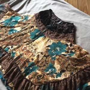 Dresses & Skirts - Floral Brown and Blue Tiered Circle Skirt