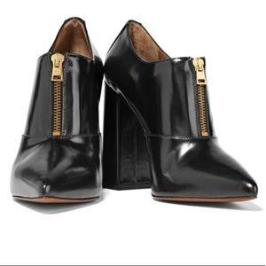 Marni Gold Zipper Glossy Leather Heeled Boots