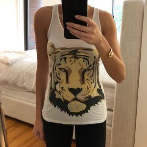 SALE Torn By Ronny Kobo tiger print white top, S