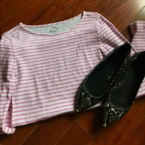 JCrew White and Pink Striped Tee