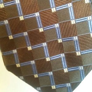 Vintage Silk Tie Faconnable,  Brown and Blue