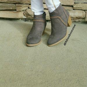 Shoes - Grey Vegan Suede Booties