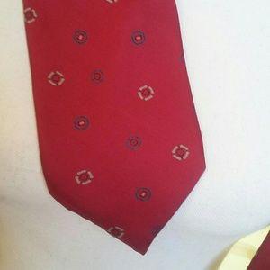 Adolf Silk Tie Red/Berry  Blue