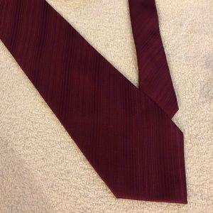 Perry Ellis Solid Cranberry Stripe Silk Tie