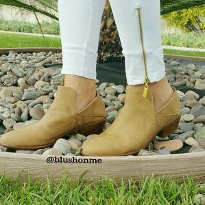 Shoes - Soft Vegan Leather Booties - Tan