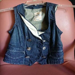 Miss Me women's S denim vest double chest buttons