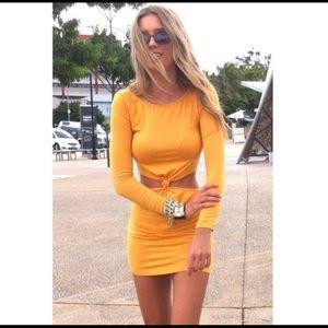 🌻 Sabo Skirt: mustard colored knot dress