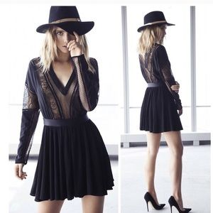 EXPRESS Edition Black Dolman Silk Lace Inset Dress