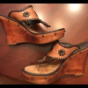 Jack Rogers Marbella Brown Platform Wedge Sandal