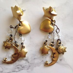 90s Heart Moon & Stars Dangle Earrings Gold VTG
