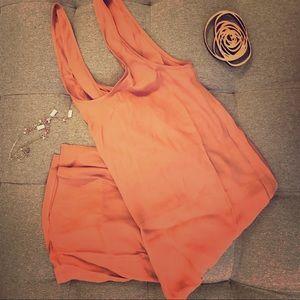 Aritzia dusty rose tank dress v back with slit