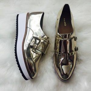 ALDO Metallic Gold Platform Shoes Sz 10