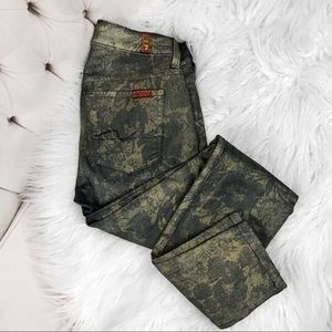 7 for all mankind metallic floral skinny jeans