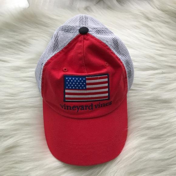 428ed303bc175 Vineyard Vines Red Mesh American Flag Trucker Hat.  M 59ff4f049c6fcf2fa40dbaf3