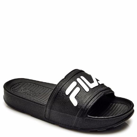 5b1d25602dd6 Fila Sleek Slide LT Kids Sandals Black White 2