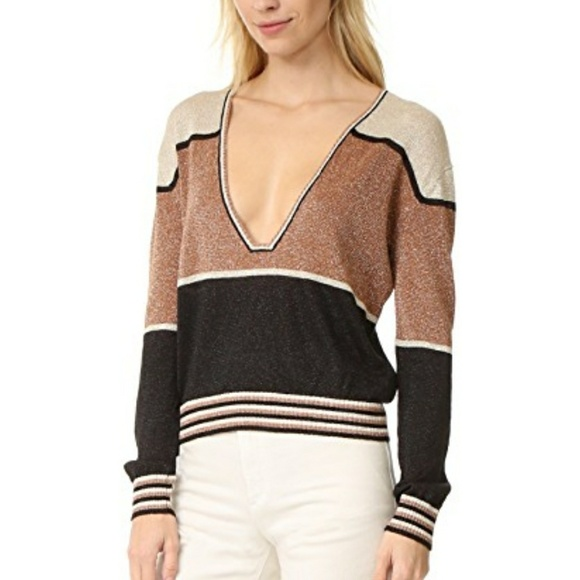 d3955af99e87b2 FREE PEOPLE Sexy Gold Stripe Fall Holiday Sweater