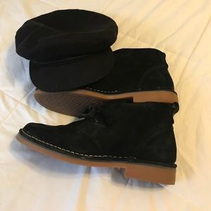 Black Suede Booties by Hush Puppies...