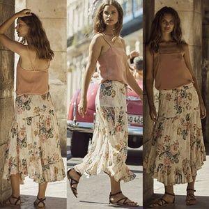 Auguste delilah frill midi skirt natural bloom XS