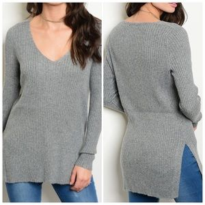 Sweaters - Gray Knit Sweater