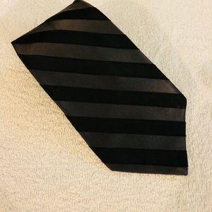 Perry Ellis Black & Charcoal Grey Stripe Silk Tie