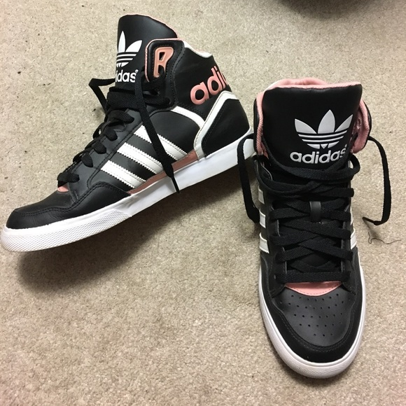 Women's Adidas High Tops (black/white/pink)