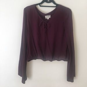 LA Hearts Purple peasant top with bell sleeves