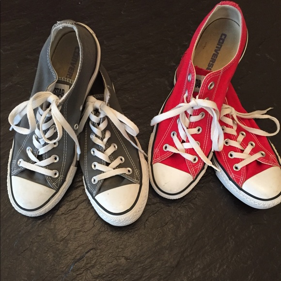 14ea510851d5 Converse Shoes - TWO pairs of low top Converse Chucks red and gray