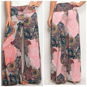 Navy Burgundy Multicolored wide leg pants