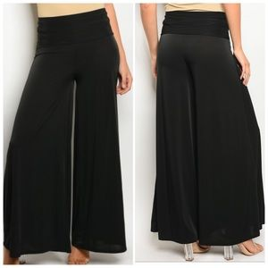 Black Multicolored wide leg pants