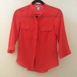 Bright Orange sheer button down blouse