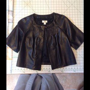 Ann Taylor Loft cropped leather jacket